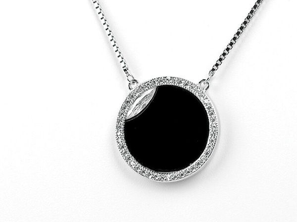 Heavenly jewelry, solar-eclipse-pendant with onyx and diamonds