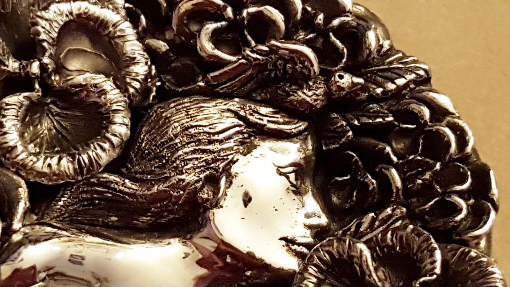 Art Nouveau Pendant Close-Up|Art Nouveau Hand Mirror|Finished Art Nouveau necklace from Calla Gold Jewelry|Artist signature on art nouveau pendant||Peggy Croft|Art Nouveau hand mirror and wax sculpture||Intricate Art Nouveau Wax Sculpture||Wax sculpted pansy
