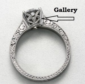 Gallery view of engagement ring with hand engraving and black rhodium. You can find images like this in Google images