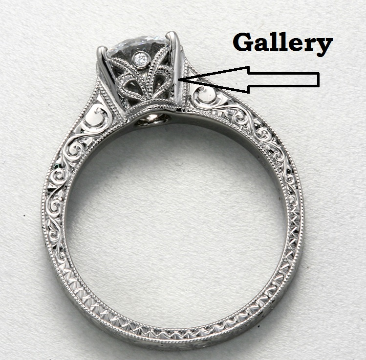 Gallery view of engagement ring with hand engraving and black rhodium