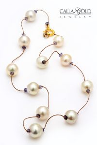 Pearl and sapphire beads Tin Cup style