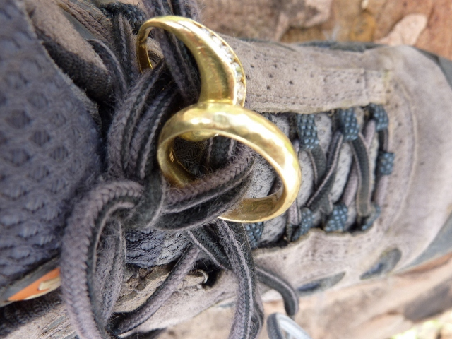 Yellow Gold Wedding Rings on a Hiking Boot