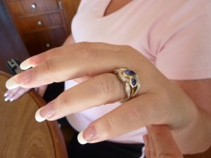 Yellow Gold Bezel set Sapphires and white gold Diamond wedding ring