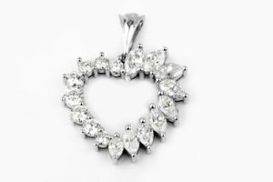 White gold and Marquis and round diamond heart pendant