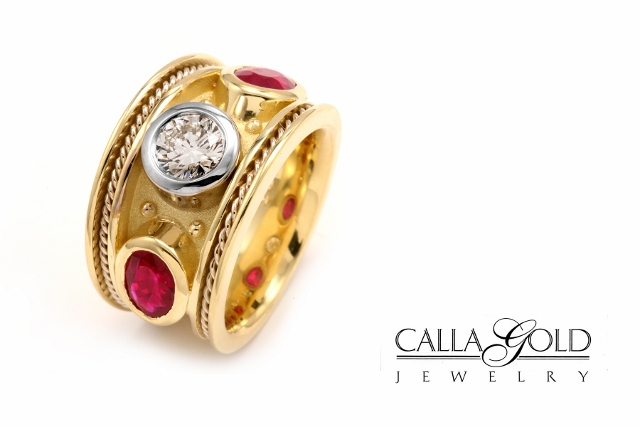 Ruby and Diamond Etruscan Ring in yellow gold with white gold bezel around diamond
