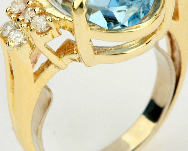 Gold Ring with Butterfly Spring Clasp