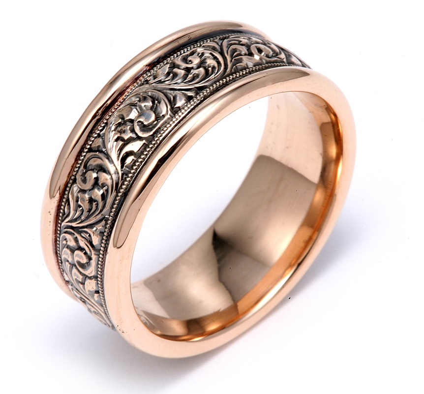 Rose Gold With Hand Engraving of Norwegian Rosemaling with Black Rhodium Wedding Band
