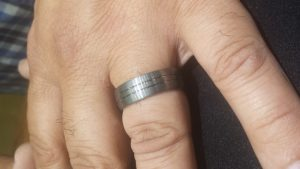 tungsten band for a man with two lines in center