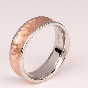 comfort fit band, White and rose Gold comfort fit band for a man band| with a concave center section, which is hammered and matte finished