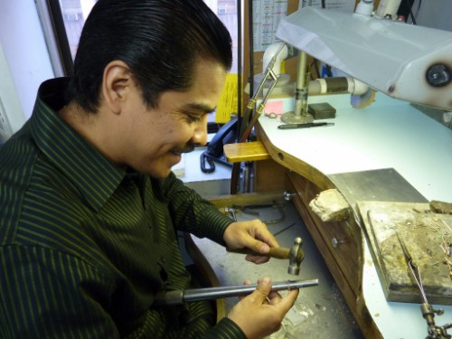 Bench jeweler working at his craft