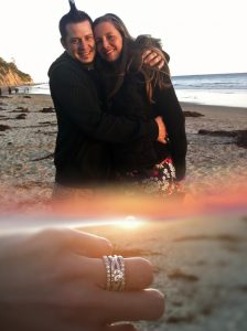 Happy couple at the beach at proposal and close up of rings