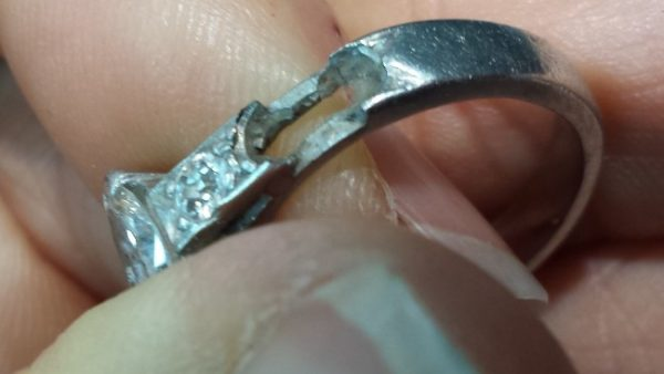 Diamond ring with damage