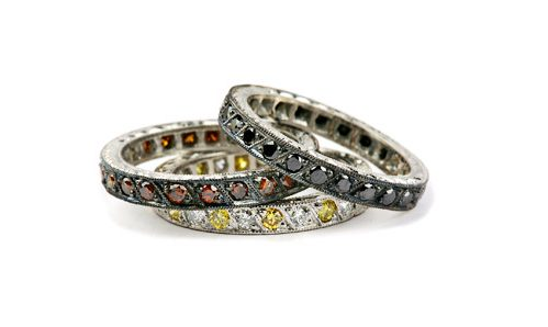 Set of three eternity bands, black diamonds, cognac diamonds and yellow and white diamonds