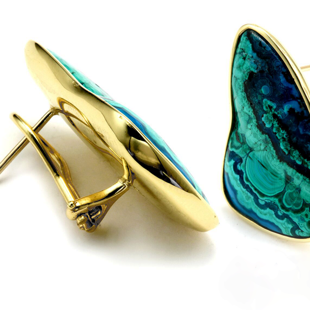 Azure-malachite earrings with yellow gold and French clip backs