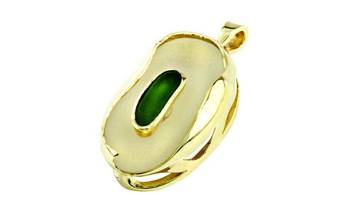 Green and clear Sea Glass Pendant with yellow gold frame
