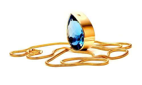 Blue Topaz bezel set necklace with snake chain