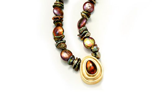 Fire agate bezel set with brown fresh water pearl necklace
