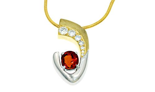 orange sapphire and diamonds slide pendant