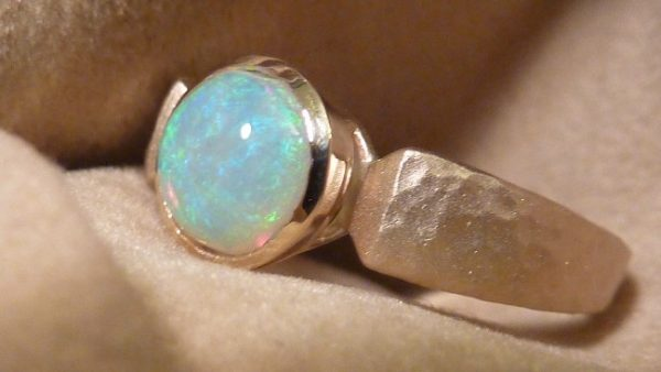 restored matte and hammer finish opal ring