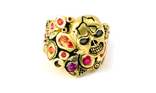Multi colored sapphire ring with skull