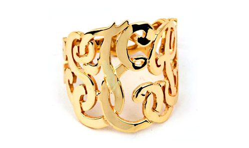 Name in letters ring in yellow gold