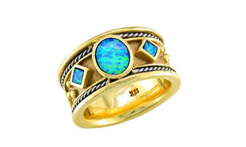 Inlaid opal Etruscan band ring