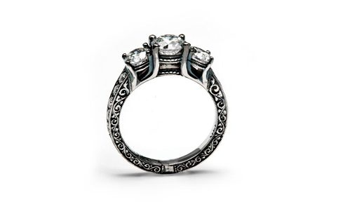 White gold and diamonds engraved ring