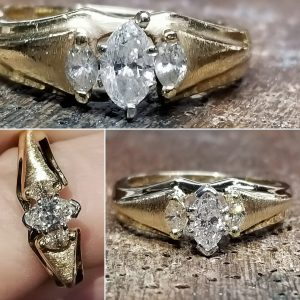 Before and after pic of diamond ring repair