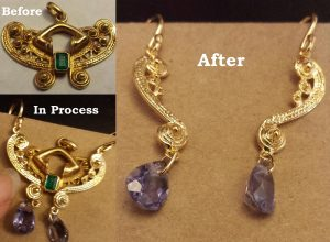Pendant to Earrings - before and after pictures