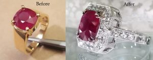 Ruby ring in yellow gold redesigned to white gold