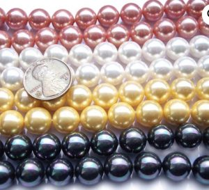Shell pearls, a type of man-made pearl